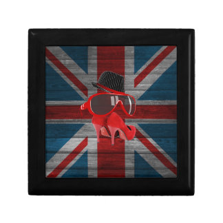 Cool fashion red hat shoes glasses union jack flag jewelry boxes