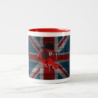 Cool fashion red hat shoes glasses union jack flag coffee mug