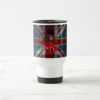 Cool fashion red hat shoes glasses union jack flag stainless steel travel mug