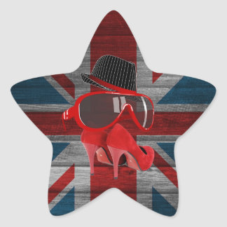 Cool fashion red hat shoes glasses union jack flag star sticker