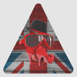 Cool fashion red hat shoes glasses union jack flag stickers