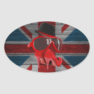 Cool fashion red hat shoes glasses union jack flag sticker