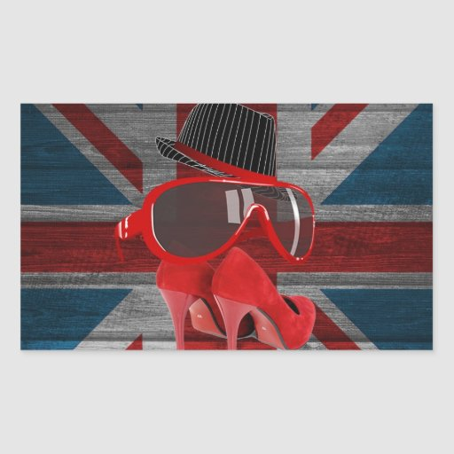 Cool fashion red hat shoes glasses union jack flag rectangular stickers