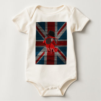 Cool fashion red hat shoes glasses union jack flag bodysuit