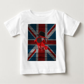 Cool fashion red hat shoes glasses union jack flag t-shirt