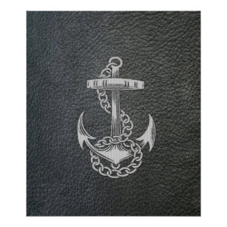 Cool fashionable silver metal shine effects anchor poster