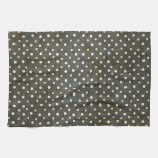 Cool fashionable white polka dots dark grey grunge hand towel