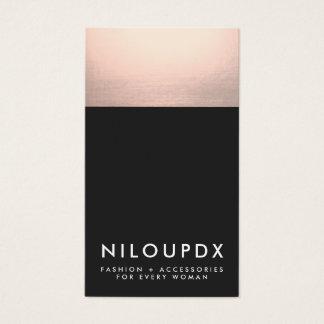 Cool Faux Rose Gold Foil and Black Modern Business Card