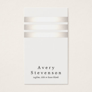Cool Faux Silver Foil and White Striped Modern Business Card