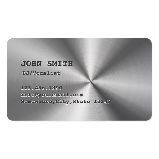 Cool Faux Stainless Steel DJ Music Business Card