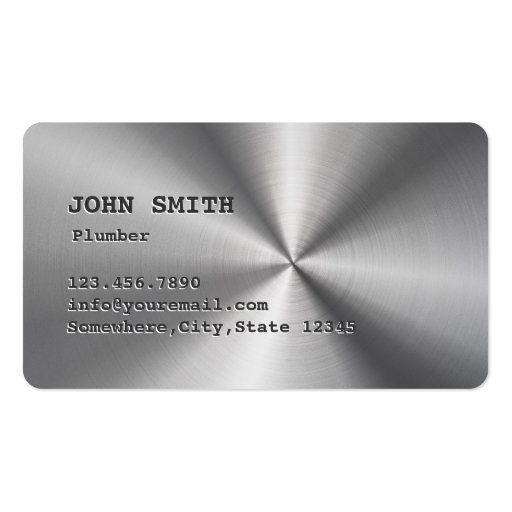 Cool Faux Stainless Steel Plumbing Business Card