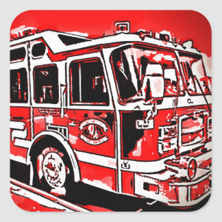 Cool Fire Truck Birthday Party Stickers