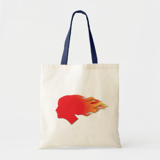 Cool Flaming Fire Hair Tote Bags