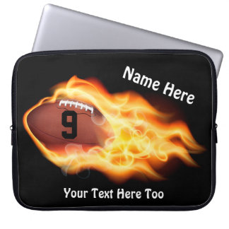 Cool Flaming Football Laptop Case, PERSONALIZED Laptop Sleeve