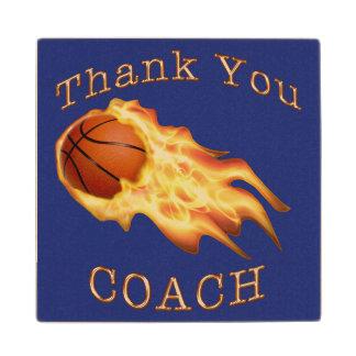 Cool Flaming Thank You Basketball Coach Coaster Maple Wood Coaster