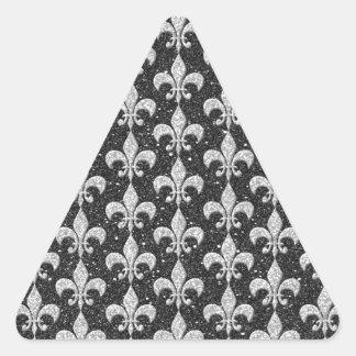 cool fleur-de-lis pattern on glitter effects triangle sticker