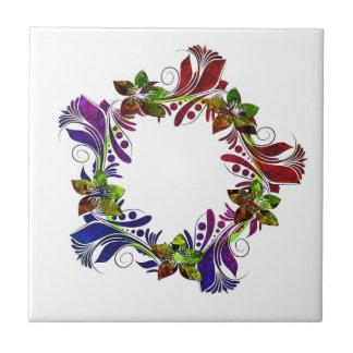 Cool floral multicolored design ceramic tile
