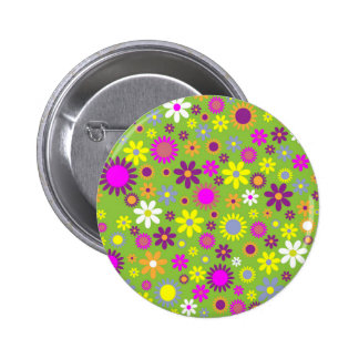 Cool Floral Pattern Colorful Scrapbooking Green Pins