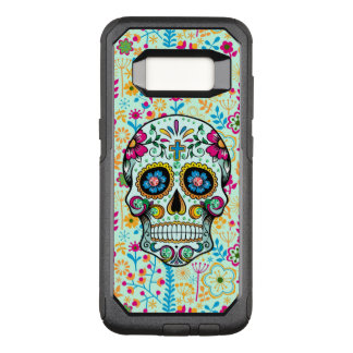 Cool Floral Sugar Skull Floral Pattern Background OtterBox Commuter Samsung Galaxy S8 Case