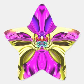 Cool Flourescent Pastel Abstract Pattern Star Sticker