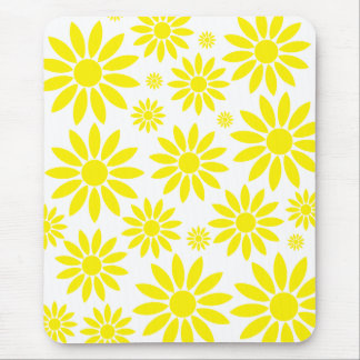 Cool Flower Pattern Yellow Mouse Pad