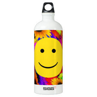 Cool Flowers Smiley Face Water Bottle