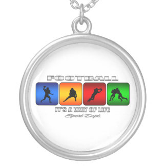 Cool Football It Is A Way Of Life Silver Plated Necklace