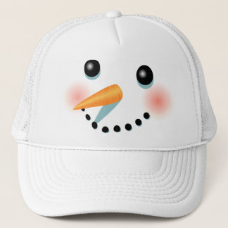Cool Frosty Snowman Cartoon Trucker Hat