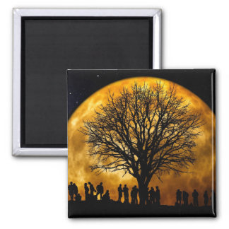 Cool Full Harvest Moon Tree Silhouette Gifts Square Magnet
