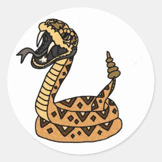 Cool Fun Artistic Rattlesnake Art Classic Round Sticker