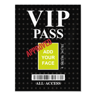 Cool fun black and white customizable VIP Pass… Magnetic Invitations
