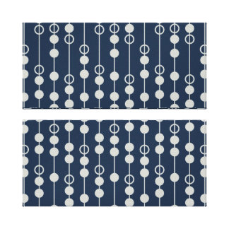 Cool Fun Navy Blue and White Beads on a String Gallery Wrap Canvas