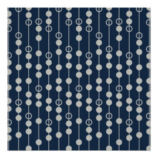 Cool Fun Navy Blue and White Beads on a String Print