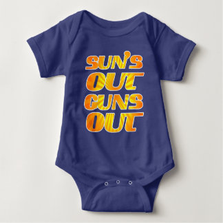 Cool Fun Suns out Guns Out Baby Bodysuit