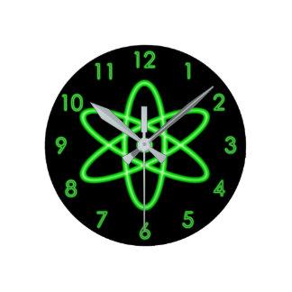Cool Fun Unique Neon Light Green Atomic Symbol Wall Clocks