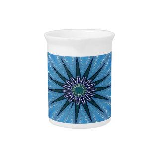 Cool Funky Artistic Royal Blue Starburst Pattern Pitcher