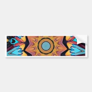 Cool Funky Blue Peach Mandala Bumper Sticker