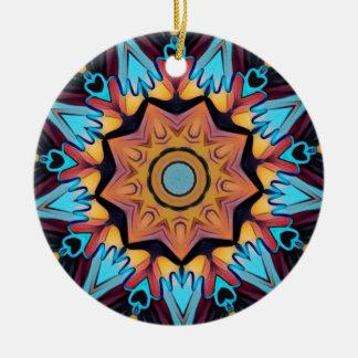 Cool Funky Blue Peach Mandala Ceramic Ornament