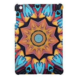 Cool Funky Blue Peach Mandala iPad Mini Covers