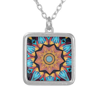 Cool Funky Blue Peach Mandala Silver Plated Necklace