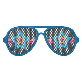 Cool Funky Blue Stars Aviator Sunglasses