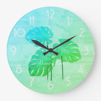 Cool Funky Bright Tropical Leaf  Add Name Clock