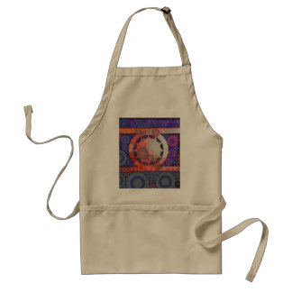 Cool Funky Circle Star Mosaic Pattern Indigo Red Standard Apron