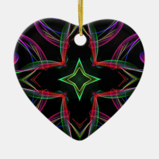 Cool Funky Neon Red Green Purple Abstract Ceramic Heart Decoration