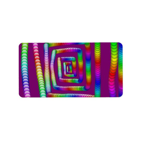 Cool Funky Rainbow Maze Rolling Marbles Design Label