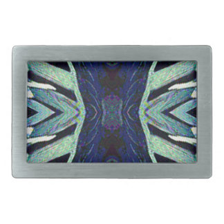 Cool Funky Shades of Blue Abstract Design Rectangular Belt Buckle