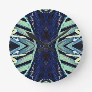 Cool Funky Shades of Blue Abstract Design Wall Clocks