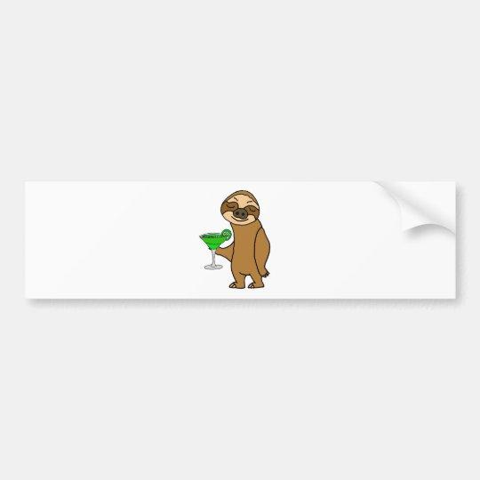 Cool Funky Sloth Drinking Margarita Cartoon Bumper Sticker