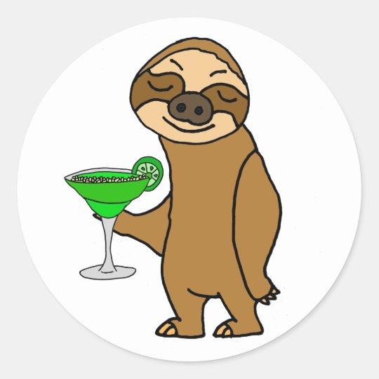 Cool Funky Sloth Drinking Margarita Cartoon Classic Round Sticker