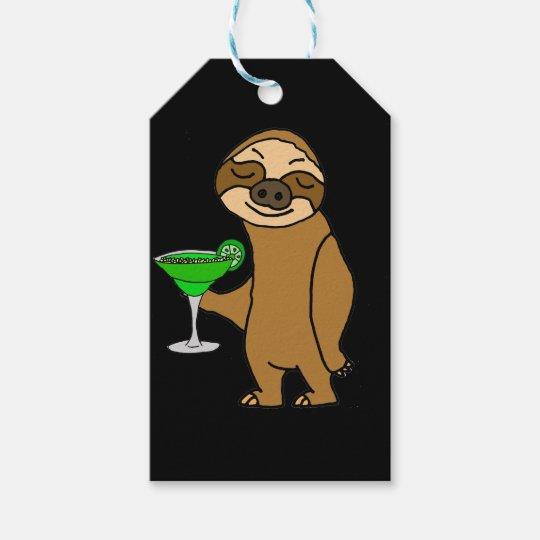 Cool Funky Sloth Drinking Margarita Cartoon Gift Tags